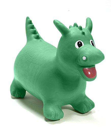 Happy Hopperz HHHZ11 - kinderwagenspeelgoed - opblaasbaar dier om te paardrijden - groene dinosaurus