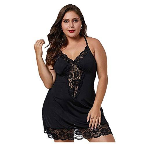 Deloito Damen Sexy Spitzen Nachthemd Dessous Tiefer V-Ausschnitt Nachtwäsche Unterwäsche Fette Frauen Übergröße Pyjama String Kleid Schlafanzug Bodysuit (Schwarz,XXX-Large)