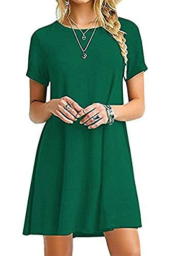 YOUCHAN Vestidos Mujer de Camiseta Suelto Casual Cuello Redondo Ocasional Sólida Mini Vestido_Ejercito Verde_L