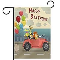 ウェルカムガーデンフラッグ(28x40in)両面垂直ヤード屋外装飾,動物旅行の誕生日の挨拶