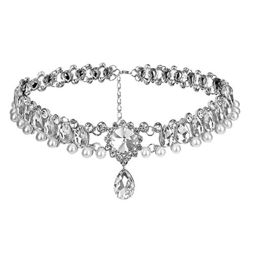 Anglacesmade Bohemia Rhinestone Choker Crystal Necklace Pearl Choker Wedding Jewelry Bridal Necklace Diamond Pendant Choker for Women and Girls (Silver)