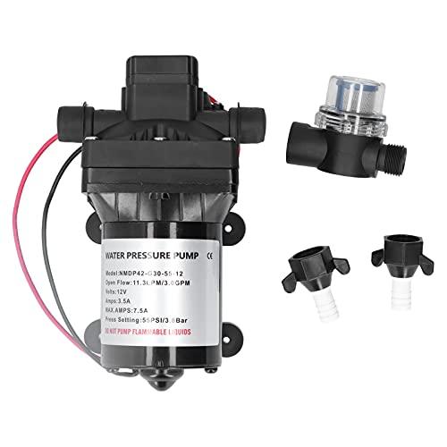 Fydun Bomba de diafragma de presión de agua DC12V 3.0GPM 55PSI 42-Series para la limpieza de carreteras de baños móviles de vehículos recreativos marinos Lavadora de coches portátil Lavado de suelos