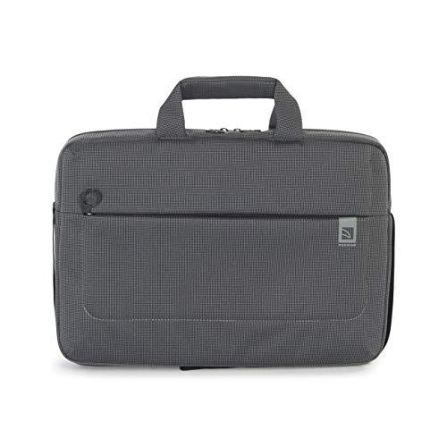 Tucano Loop Laptoptasche/Schultertasche für 13 Zoll Notebook/Tablet/Netbook/Laptop/Ultrabook/MacBook | Außentasche Reißverschluss - schwarz-grau