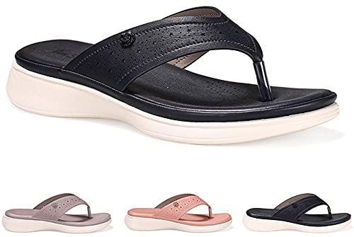 Dakecy Sandalias para Mujer Sandalias cómodas con Soporte ortopédico para el Arco Sandalias de Playa de cuña Alta Sandalias de Playa con Tanga de Verano Chanclas con Plataforma Sandalias con Anillo