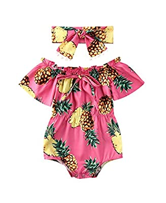 2Pcs Newborn Baby Girl Leopard Ruffles Sleeve Bodysuits Jumpsuit Headband Clothes Romper Set (Red&Pineapple, 0-6 Months)