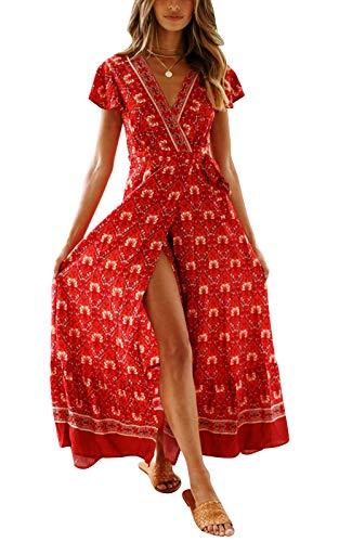 Cindeyar Kleider Boho Sommerkleid V-Ausschnitt Damen Vintage Strand Blumen Maxikleid Kurzarm Strandkleid Lang mit Schlitz (Small, Weinrot-1)