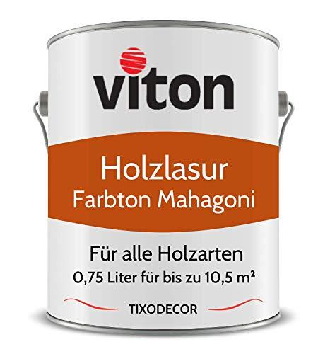 0,75 Liter Holzlasur von Viton - Farbe Mahagoni - 3in1 Seidenmatt - Holzschutzlasur, Lasur für Holz - Extra starker Schutz für Innen und Außen - Wetterfest, Atmungsaktiv & UV-beständig - Tixodecor
