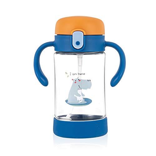 Botella para bebés ÜneeQbaby Active Plus con pajita flexible con 360º de movimiento con peso, a prueba de derrames, plástico Tritan sin BPA, abertura mediante un botón, 300 ml- Archie Feliz hi