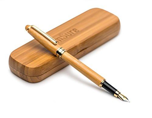 Msure-Bambus-Füllfederhalter mit Bambus-Geschenk-Box, 100{029f0284fc8d358ee8f0c75ee0d725299024be2003f7b1b2812694ff04249fc4} handgearbeitet, perfekte Business-Stifte