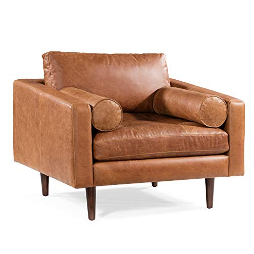 POLY & BARK Napa Lounge Chair in Full-Grain Pure-Aniline Italian Tanned Leather in Cognac Tan