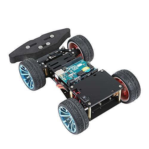 Kit Arduino de chasis de dirección de coche inteligente 4WD RC con kit de rodamiento servo de metal y motor de engranaje de metal para Raspberry Pi, compatible con el controlador PS2,Standard
