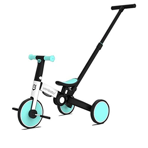 Uonibaby by StarAndDaisy 4 in 1 Kids Bicycle/Tricycle/Cycle for 1-5 Years Old Kids Trike 3 Wheel Toddler Bike Boys Girls Trikes for Toddler Tricycles Baby Bike Trike (Blue with Push Bar)