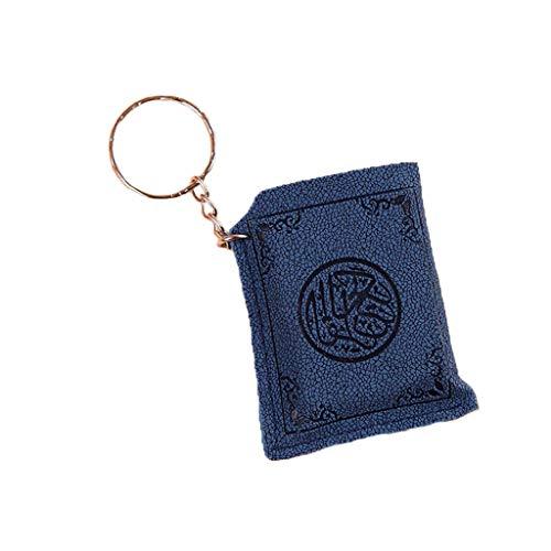 niumanery Creative Super Mini Arabic Quran Book Keychain Pendant PVC Storage Bag Cute DIY Art Craft Key Decor New Year Valentine Gift Blue