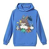 Wojhgegb Totoro Sudadera Sudaderas con Capucha Ocio Sudadera con Capucha Top Moda Deportes Suéter Blusas acogedoras Totoro Pullover (Color : Blue, Size : 150)