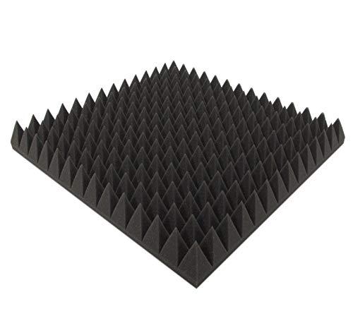 Pyramiden Schaumstoff (Anthrazit ca.49x49x7cm) Akustikschaumstoff Raum Akustik Schall Dämmung Schutz