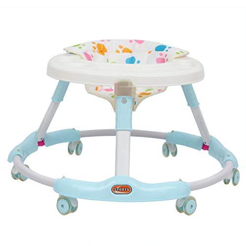 AJAMQ Andador Bebe, Plegable Caminador con Plato Desmontable Y 6 Ruedas Silenciosas para Bebes Mayores De 8 Meses,Azul