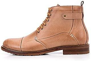 JAUROUXIYUJI Men's Genuine Leather Shoes Casual Lace High Boots Shorts Casual Leather Boots (Color : Beige, Size : 40 EU)