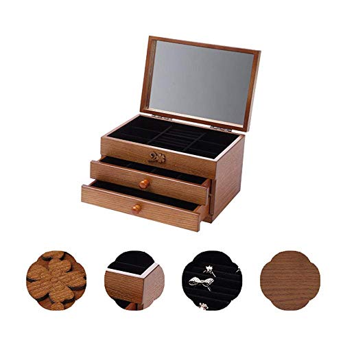 Joyero Organizador de joyero de Madera Tallada Vintage Joyero de 3 Capas...