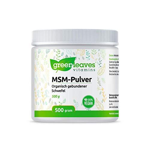 Greenleaves Vitamins - MSM Pulver 500 Gramm Opti-MSM Organisch gebundener Schwefel. Frei von Gluten, Milchzucker und Soja. 100% Vegan.
