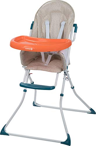 Safety 1st Kanji Seggiolone pappa pieghevole per bambini 6 mesi - 3 anni, con vassoio, imbottitura seggiolone, colore happy Day