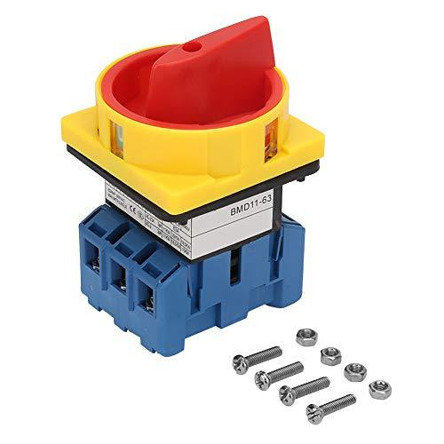 63A 3P Hauptschalter,Lasttrennschalter 3-poliger 2-Positions 1-Nocken Ausschalter Drehschalter für Werkzeugmaschinen,Maschinen,Chemikalien,Textilien(63A)