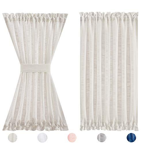 """Fmfunctex Natural Linen French Door Curtains for Sliding Glass Door 40"""" Half Privacy Semi Sheer Front Door Panels for Back Door Window 1 Panel"""