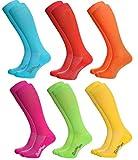 Rainbow Socks - Hombre Mujer Calcetines Largos de Deporte - 6 Pares - Azul Rojo Naranja Rosa Verde Amarillo - Talla UE 39-41