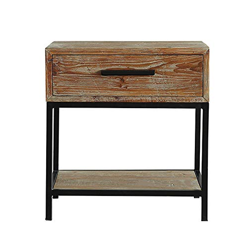 VBARV Nachttisch, industrieller Beistelltisch mit Schublade und Regal, Holzakzenttisch mit Metallrahmen, einfache Montage, geeignet für Bettschrank, Wohnzimmer-Beistelltisch