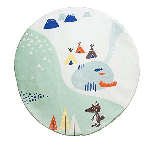 JulicaDesign Krabbeldecke   Spieldecke für Babys   wendbar + gepolstert   100 cm rund