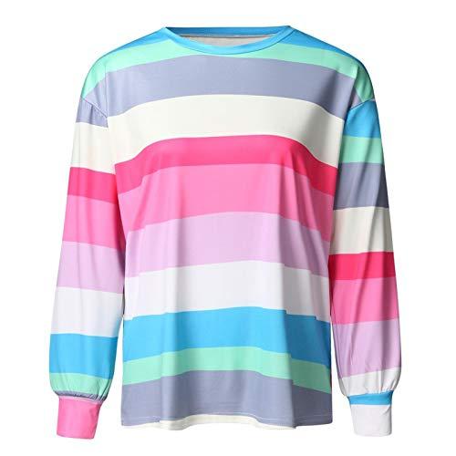 Moda Sudaderas Jersey Sweater Camiseta Mujer Sexy Color Rayas Sudadera Manga Larga Tops Top Mujer Harajuku Camiseta M Azul
