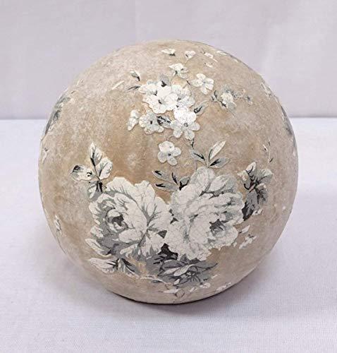 linoows Rosenkugel, Terrakotta Gartenkugel mit Blumenmuster, Landhaus Beet-Kugel 16 cm
