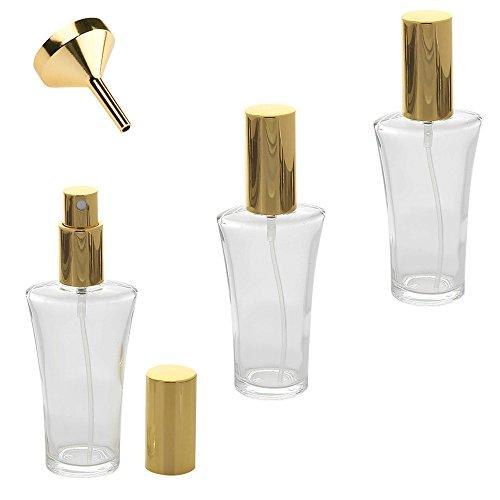Parfümflakon Glas mit Zerstäuber, 50 ml Kosmetex Flakon für Parfum, Colognes, leer zum selber Befüllen, 3x Gold +Trichter