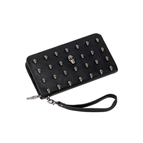 VORCOOL Langen Geldbörse PU Leder Brieftasche mit Niet Reißverschluss (Schwarz)