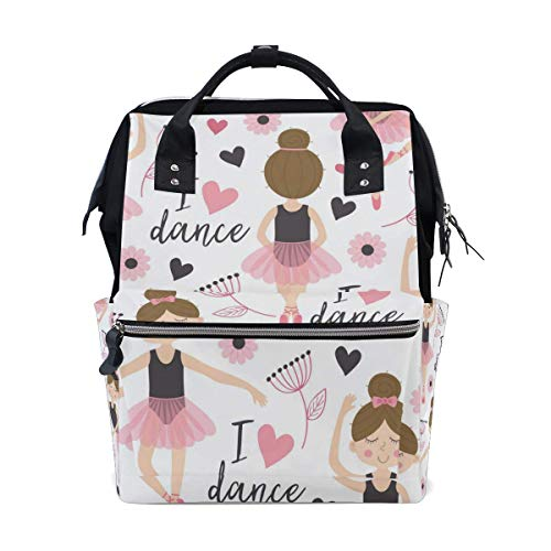 UUwant Sac à Dos à Couches pour Maman Ballerinas Ballet Girl Diaper Backpack Large Capacity Baby Bag Multi-Function Nappy Bags Travel Mom Backpack for Baby Care