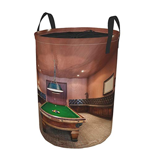 Janrely Large Round Storage Basket with Handles,Mansion Pool Table Billiard Lifestyle,Waterproof Coating Organizer Bin Laundry Hamper for Nursery Clothes Toys 21.5'x 16.5'