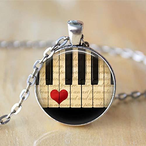 heng yuan tian cheng Musikschmuck Klavier-Halskette, Klavierschlüssel, schwarz und weiß, Klaviertasten, Noten-Schmuck, musikalische Kunst Anhänger