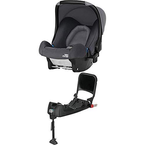 Britax Römer Baby-Safe Babyschale Set, Gruppe 0+ (Geburt - 13 kg), Kollektion 2019, inkl. Isofix-Station, storm grey