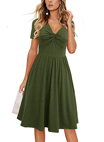 Berydress Women's Short Sleeve Casual Summer Dresses V-Neck Twist Knot Front Midi A-Line Sundress