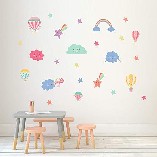 Chytaii. Pegatinas Infantil Decorativas Pared Decoracion Pegatinas Pared Niña Dormitorio DIY Estrellas + Nubes + Globo Aerostático 22×60 cm