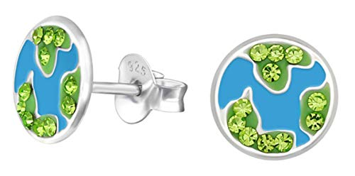 Best Wing Earrings Pendientes de Tuerca hipoalergénicos de Plata de Ley con Forma de Globo/Tierra (sin níquel)