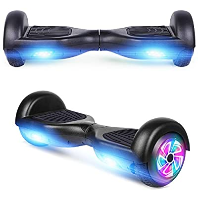 """Spadger Hoverboard UL 2272 Certified Flash Wheel 6.5""""Spadger Hoverboard with LED Light Self Balancing Wheel Electric Scooter(Black)"""