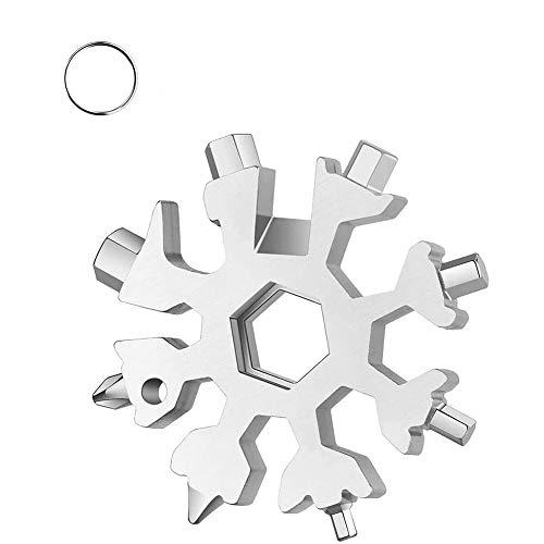 18 en 1 Multi Herramienta Copo de Nieve Snowflake, Plata Snowflake Multi Tool, Destornillador Multi Tool Herramienta de Acero Inoxidable Llavero Abrebotellas Tarjeta