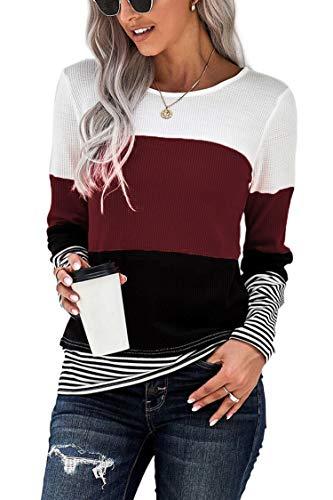 FANGJIN Damska koszulka z długim rękawem Damska odzież wierzchnia Długa koszulka do biegania Damska koszula z długim rękawem w stylu basic z długim rękawem Bluzki damskie Wino czerwone M