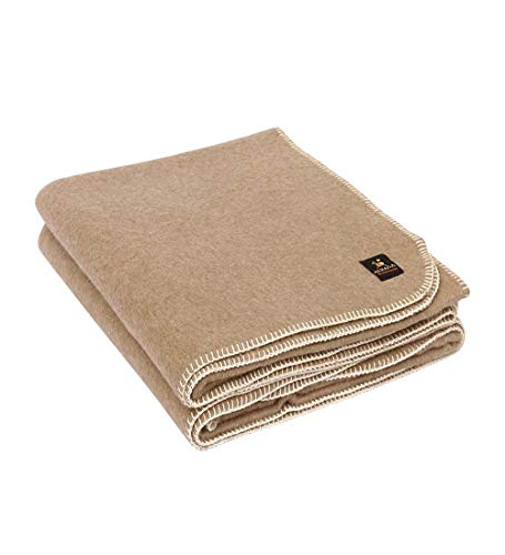 Thick Alpaca Wool Blanket Heavyweight Alpaca Wool Blanket for Camping Outdoors or Using Indoors | Peruvian Alpaca Wool Blankets That Come in Twin, Queen and King Sizes Solid Color (Cinnamon, Queen)
