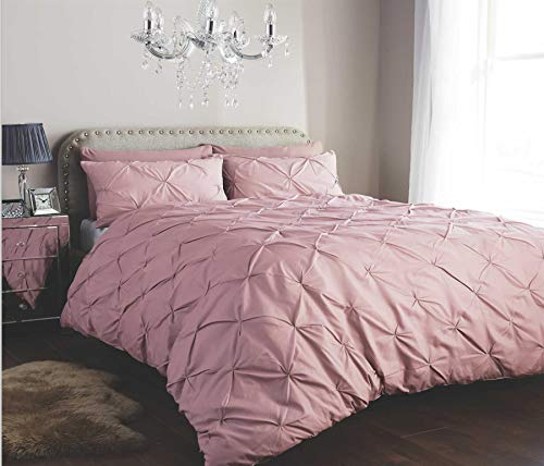 Olivia Rocco Pintuck Duvet Cover Set Easy Care Cotton Rich Quilt Covers Bedding, King Pink