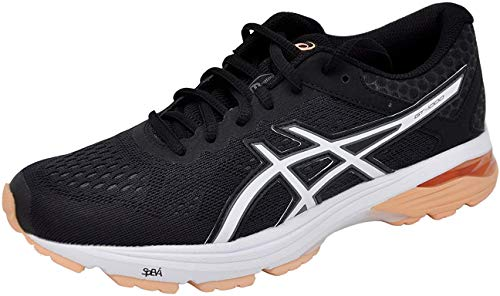 ASICS Women's GT-1000 6 Running-Shoes Black/Cantel/Carbon, 7 B(M) US