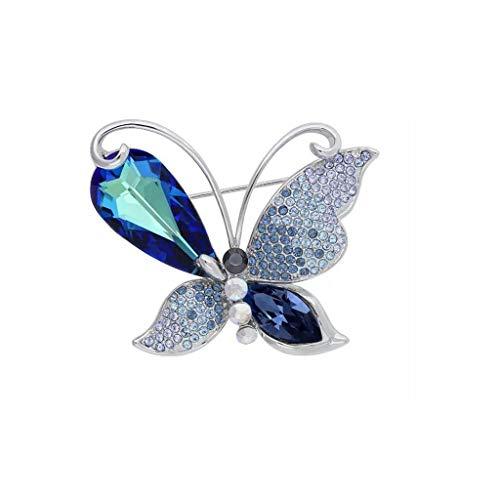 LIAN Elegante Kristall Brosche Frauen, Bunte Schmetterling Schmuck, Geschenkbox, Frauen Geschenke (Color : Blue)