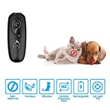 HOMLORY LED Ultrasonic Dog Repeller, Rechargeable Dog Barking Control Devices Dog Trainer and Cat Toys Interactive 4 in 1 Anti Barking Stop Bark Handheld Dog Training Device