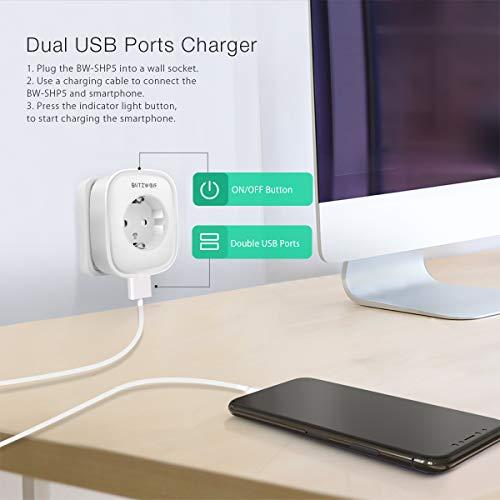 Presa Intelligente, BlitzWolf Smart Plug WiFi con Doppio USB, Controllo APP, Funzione Timer, Spina Smart Compatibile con Amazon Alexa, Google Home e IFTTT, Senza Requisiti hub -Bianco