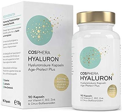 Hyaluronsäure Kapseln hochdosiert mit 500 mg pro Kapsel - 90 vegane Hyaluron Kapseln im 3 Monatsvorrat - 500-700 kDa I Angereichert mit Zink, Vitamin C, B12 & Bioflavonoiden für Haut und Knochen